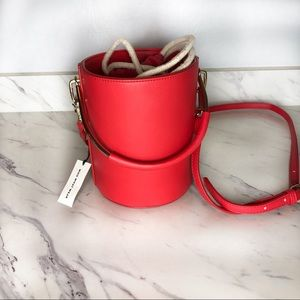Who what wear red bucket purse